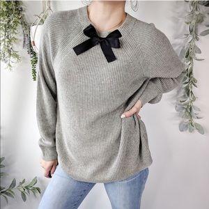 J. CREW Sweater Gray Black Knit  Neck Bow